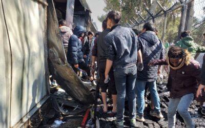 Fire in Moria camp