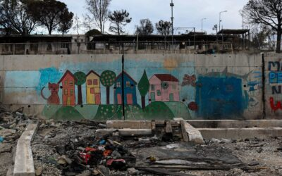 Human traces on the landscape in Moria, three months after the fire